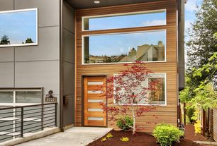 Modern Front Door with Tiama 5 modern exterior door, Paint 1, Port orford cedar tongue and groove siding