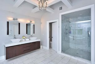"""Contemporary Master Bathroom with Kesir Polished Turkish Carrara White Marble Tile 12"""" x 24"""" x 3/8"""", Freestanding, Chandelier"""
