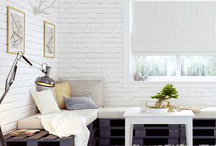 Contemporary room with interior brick, Concrete floors