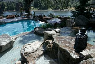Rustic Swimming Pool with Fence, Pathway, exterior stone floors