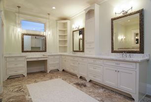 Traditional Master Bathroom with Pendant light, Corner bookcase:book case: threshold carson corner bookcase - white