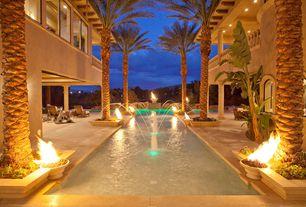 Mediterranean Swimming Pool with sandstone tile floors, Columns, High ceiling