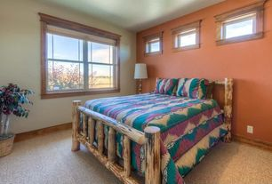 Craftsman Master Bedroom with Carpet, double-hung window, Standard height, Paint, picture window