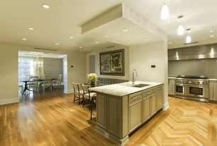 Contemporary Kitchen with can lights, Inset cabinets, L-shaped, Standard height, Pendant light, Breakfast bar, Wall Hood