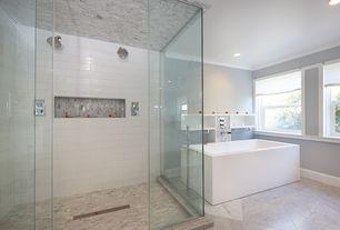 Contemporary Master Bathroom with Crown molding, Master bathroom, Ceramic wall tile - per sq ft, Bathtub - freestanding