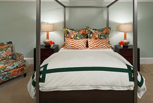 Contemporary Guest Bedroom with Carpet, Standard height, Crown molding