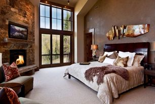 Eclectic Master Bedroom with High ceiling, Pendant light, Kathy Ireland Manhattan Modern Tall Silver Glass Table Lamp, Carpet