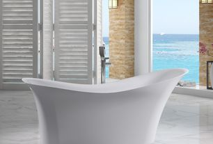 Contemporary Master Bathroom with Modern freestanding slipper bathtub, Free standing tub filler