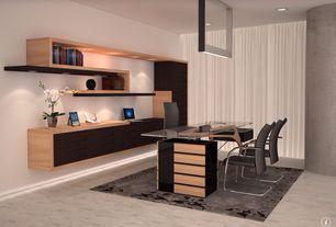 Contemporary Home Office with Pendant light, Columns, Carpet, Built-in bookshelf