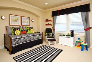 Traditional Kids Bedroom with Crown molding, Dash & albert birmingham black & white striped cotton rugs, Carpet, Wall sconce