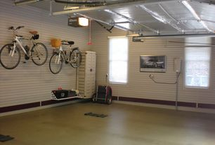 Cottage Garage with specialty door, Concrete floors, flush light