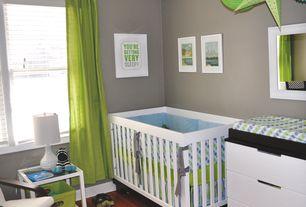 Contemporary Kids Bedroom with Standard height, double-hung window, no bedroom feature, Hardwood floors