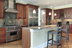 Craftsman Kitchen with Flush, European Cabinets, Crown molding, Kitchen island, Flat panel cabinets, Breakfast bar, L-shaped