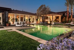 Mediterranean Swimming Pool with Accent landscape lighting, Outdoor lounge area, Fence, French doors, Covered patio, Gazebo