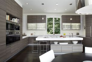 Contemporary Kitchen with Breakfast nook, Stainless steel modern counter stool, European Cabinets, Breakfast bar, U-shaped