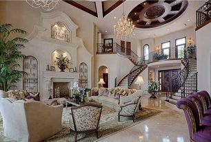 Traditional Living Room with Fireplace, Decorative metal panels, Loft, Paint, Double height living room, High ceiling