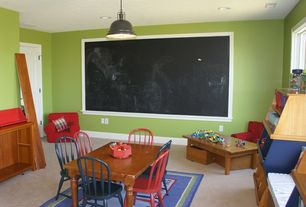 Traditional Playroom with Built-in bookshelf, Hudson valley lydney 1 light pendant, Window seat, Carpet, specialty door