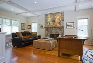 Craftsman Living Room with Hardwood floors, stone fireplace, Box ceiling