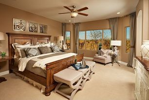 Traditional Master Bedroom with Ceiling fan, Carpet