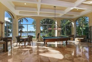 Traditional Game Room with Transom window, Pendant light, Box ceiling, Arched window, simple marble floors