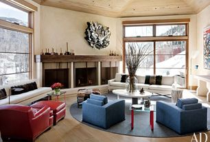 Contemporary Living Room with Fireplace, insert fireplace, Casement, Standard height, can lights, Hardwood floors