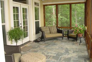 Country Porch with exterior tile floors, French doors, Screened porch