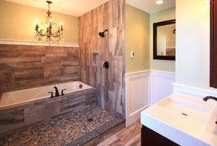 Eclectic Master Bathroom with Chair rail, Wainscotting, Undermount sink, Master bathroom, Corian counters, Chandelier