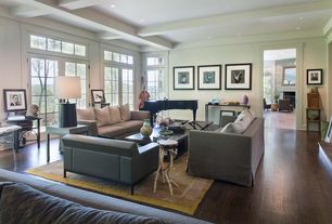 Contemporary Living Room with Transom window, French doors, Exposed beam, Hardwood floors