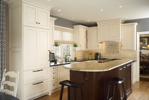 Traditional Kitchen with Subway Tile, L-shaped, Pottery Barn Tibetan Bar Stool, Breakfast bar, Flat panel cabinets
