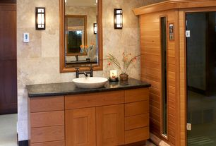 Tropical Master Bathroom with Lite Source Dion 1 Light Wall Sconce, Ms international - cambrian black