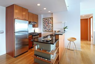 Contemporary Kitchen with Breakfast bar, Bar height, Flush, Partial overlay face frame cabinets, Undermount sink, Galley
