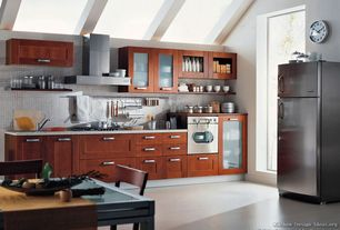 Contemporary Kitchen with Simple granite counters, Ikea - akurum cabinets, Kitchen island, High ceiling, Glass panel, Flush