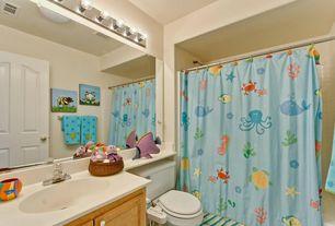 Craftsman Full Bathroom with Built-in bookshelf, specialty door, Wall sconce, Standard height