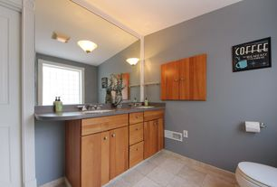 Modern Master Bathroom with Double sink, Formica counters, specialty door, Framed Partial Panel, Undermount sink, flush light