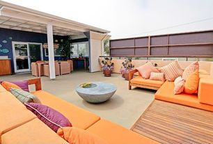 Contemporary Deck with Column, exterior tile floors, The phillips collection  outdoor beverage table, Patio furniture, Fence