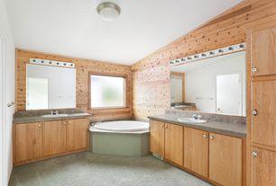 Rustic Master Bathroom with Sandstone Tile, flat door, three quarter bath, full backsplash, soapstone tile counters, Carpet