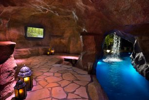 Rustic Swimming Pool with Waterfall, Water feature, Lazy river, exterior stone floors, Indoor pool