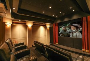 Traditional Home Theater with flush light, Crown molding, Carpet