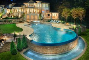 Traditional Swimming Pool with Casement, Deck Railing, French doors, Pathway, Pool with hot tub, Raised beds, Fountain