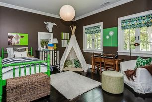 Traditional Kids Bedroom with Crown molding, Safavieh MLS431 Malibu Shag Rug - white - 6x9, Hardwood floors, Pendant light