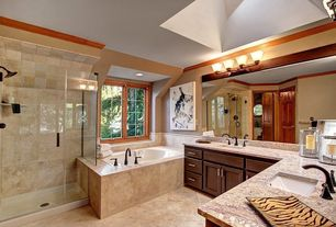 Craftsman Master Bathroom with drop in bathtub, Wall Tiles, Complex Granite, Inset cabinets, Double sink, can lights, Bathtub