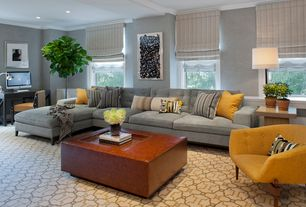 Contemporary Living Room with Window seat, can lights, Carpet, double-hung window, Crown molding, Standard height