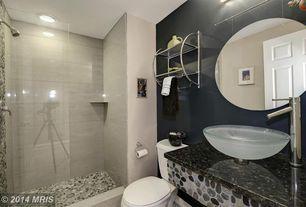 Contemporary 3/4 Bathroom with Pebble Tile Shop Sliced Bali Turtle Tile Border, Daltile Spark Smokey Glimmer Porcelain Tile
