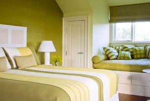 Traditional Master Bedroom with flat door, Standard height, Hardwood floors, Casement