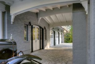 Traditional Front Door with Glass panel door, Pathway, exterior brick floors