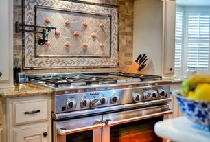 Traditional Kitchen with Simple granite counters, Floor And Decor Ociano Brick Marble Mosaic, Stone Tile, Raised panel