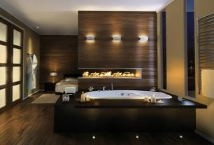 Contemporary Master Bathroom with Master bathroom, Paint, picture window, drop in bathtub, can lights, Hardwood floors