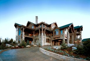 Rustic Exterior of Home with Exterior stone driveway, Paint 1