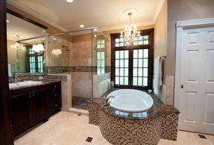 Traditional Master Bathroom with Ms International Emperador Dark Marble, Complex granite counters, frameless showerdoor