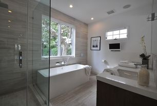 Contemporary Master Bathroom with Double sink, Frameless glass shower door, Master bathroom, Freestanding, tv wall mount